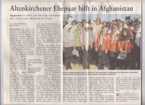 Rhein-Zeitung Nr 109 11.05.2011 Altenkirchener Ehepaar hilft in Afghanistan