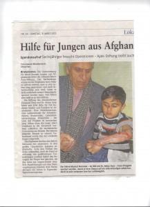 Hilfe für Jungen aus Afghanistan 3.3.2012, Rhein-Zeitung Nr. 54/2012