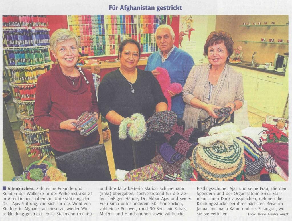 Rhein-Zeitung 10.12.2014 Für Afghanistan gestrickt