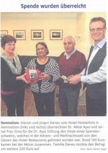 Rhein-Zeitung - Wir von hier - 23.01.2015 Spende wurde übergeben